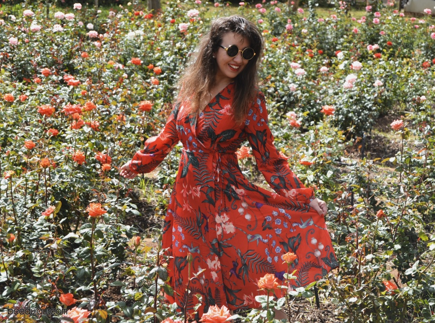 red floral dress rose field